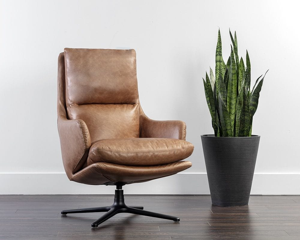 Cardona Swivel Lounge Chair - Black - Marseille Camel Leather