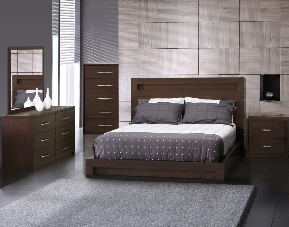 JLM Manhattan Queen Low-Profile Bed with 5 Pc's