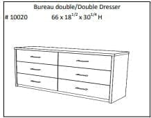 JLM Manhattan 6 Drawers Double Dresser with mirror