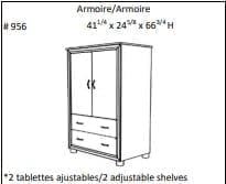 LUXEMBOURG 2-DRAWER ARMOIRE