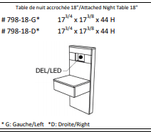 """JLM Soho Attached Night Table 18"""" Left"""