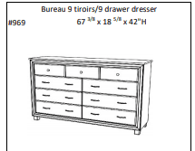 LUXEMBOURG 9 DRAWER Double DRESSER