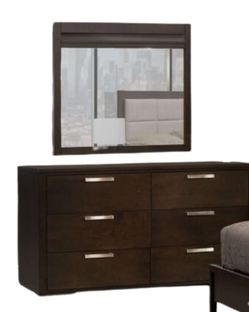 Kingston Six Drawers Double Dresser With Mirror